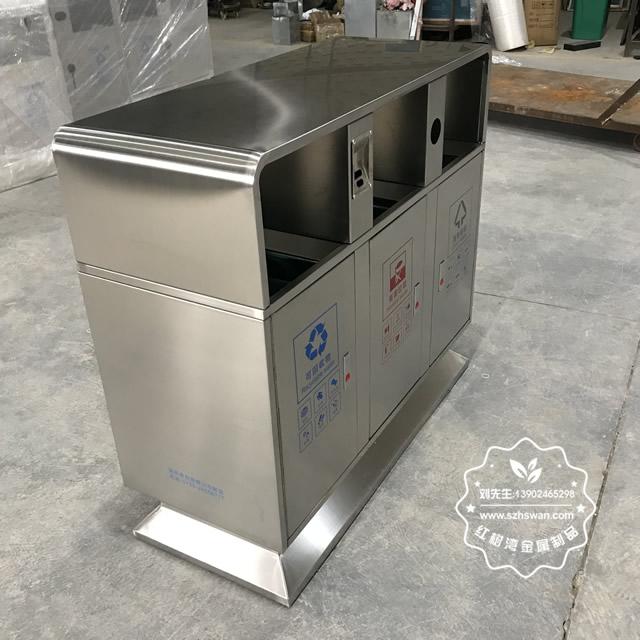小区户外方形三分类不锈钢垃圾箱图片04