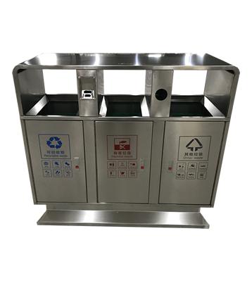小区户外方形三分类不锈钢垃圾箱主图