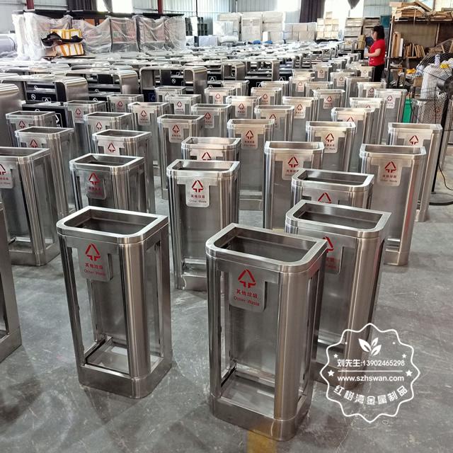 地铁站防爆不锈钢垃圾桶图片02