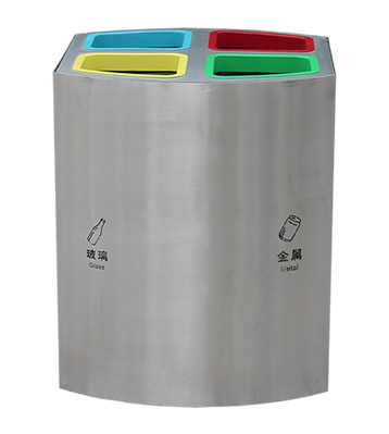 直投口不锈钢四分类垃圾桶