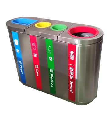 室内立式四分类不锈钢垃圾桶主图