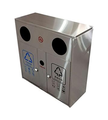户外方形两分类不锈钢垃圾箱主图