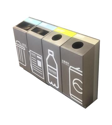 抽拉式商场不锈钢分类垃圾桶主图