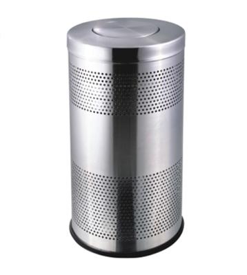 不锈钢圆形翻盖冲孔垃圾桶