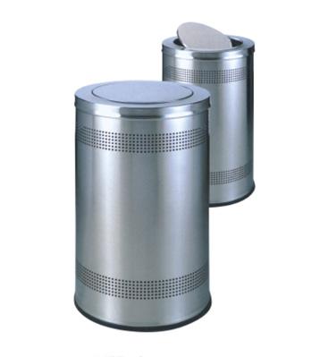 不锈钢港式摇盖垃圾桶