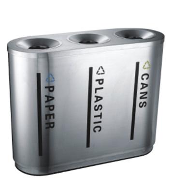 室内不锈钢三分类垃圾桶