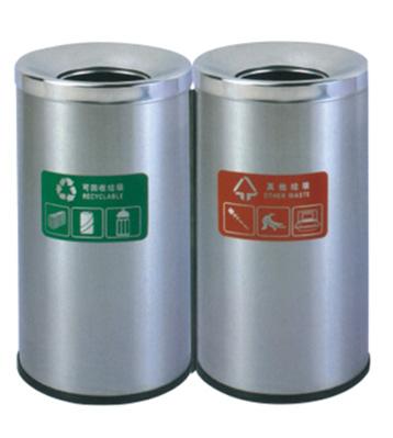 双桶室内加厚不锈钢两分类垃圾桶