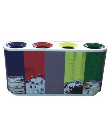 四筒室内彩色不锈钢四分类垃圾桶
