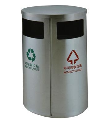 室内不锈钢两分类垃圾桶