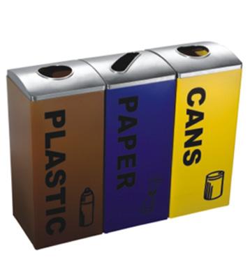室内不锈钢三分类回收箱