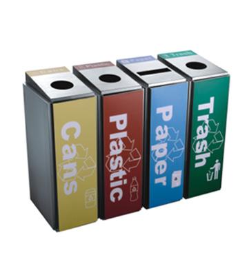 不锈钢四分类环保回收桶