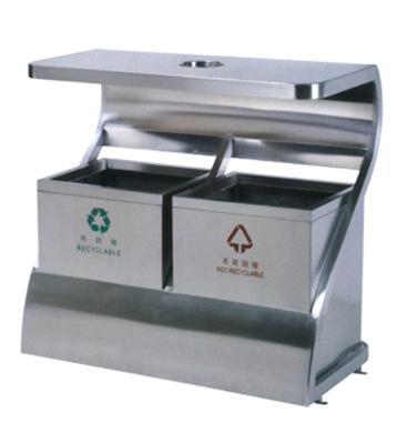 环保创意不锈钢二分类环保垃圾桶