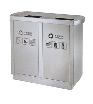 双筒立式室内不锈钢分类垃圾箱