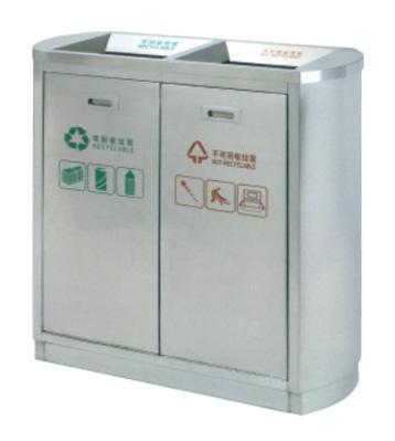 室内机场双筒不锈钢分类垃圾箱