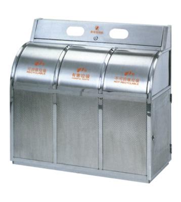 不锈钢三分类摇盖垃圾桶主图