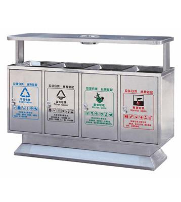 不锈钢四分类地铁垃圾桶