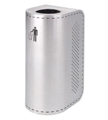 不锈钢圆弧形靠墙垃圾桶