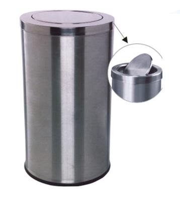 不锈钢圆形翻盖垃圾桶主图