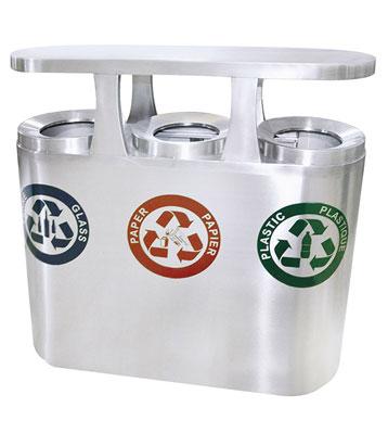高档三筒不锈钢户外广场分类垃圾桶