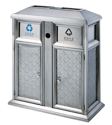 不锈钢户外园林分类垃圾桶