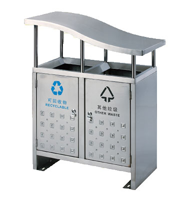 不锈钢户外斜盖分类垃圾桶