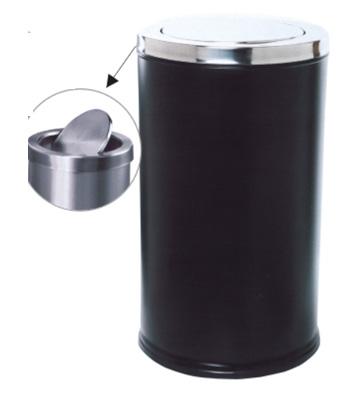 不锈钢烤漆翻盖垃圾桶