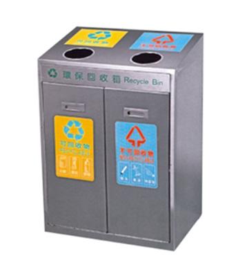 不锈钢二分类环保果皮箱主图