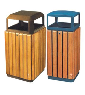 立式钢木垃圾桶