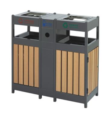 塑木环保钢木分类垃圾箱