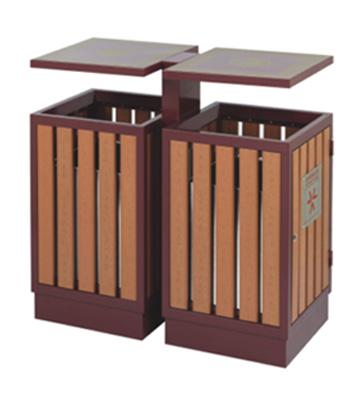 园林景区钢木分类垃圾箱