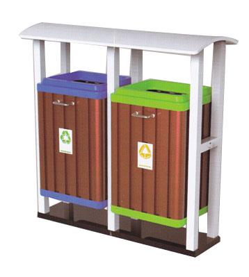 双桶分类钢木垃圾桶