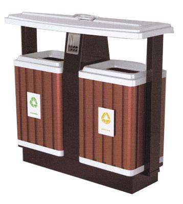 市政分类钢木垃圾桶