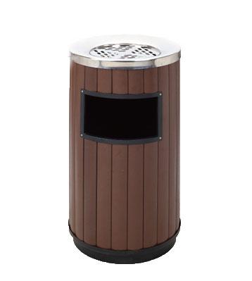 圆形户外钢木垃圾桶