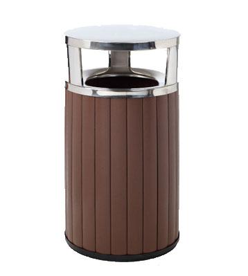 商场圆形钢木垃圾桶