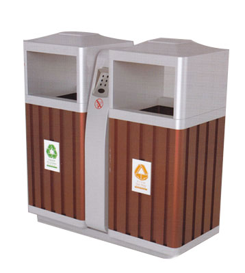 车站双桶分类钢木垃圾桶