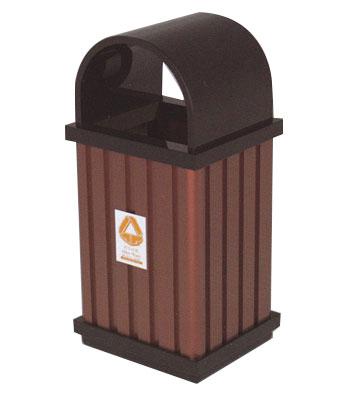 弧形投口钢木垃圾桶