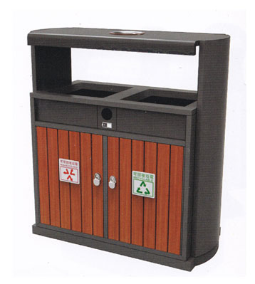 室内分类环保钢木垃圾桶