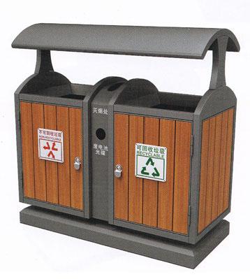 商场分类环保钢木垃圾桶