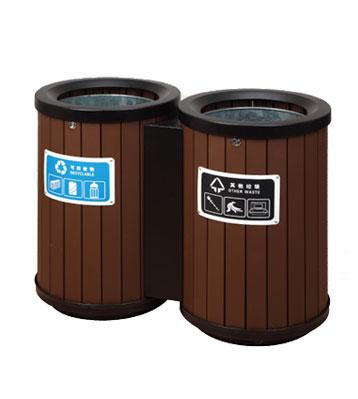 双桶定制环保钢木垃圾桶