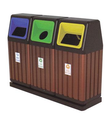 三联分类环保钢木垃圾桶