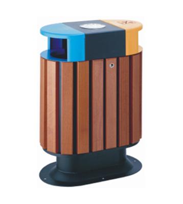 双投口钢木垃圾箱