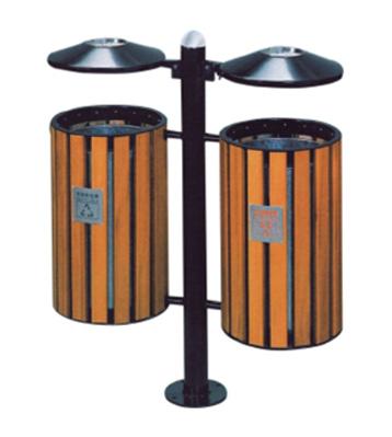 社区双桶钢木分类垃圾箱