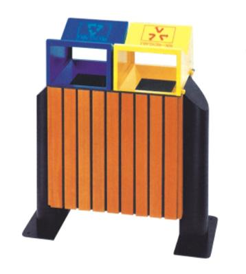 户外环保侧开口钢木分类垃圾箱