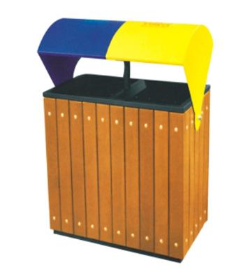 遮雨式钢木分类垃圾箱
