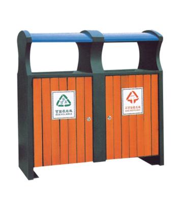 环保钢木分类垃圾箱