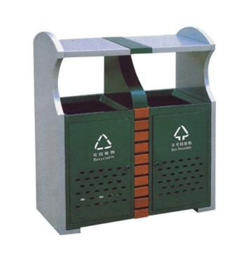 地铁钢木分类垃圾箱