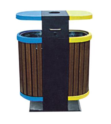 山樟木钢木垃圾桶
