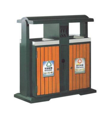 景区钢木分类垃圾箱