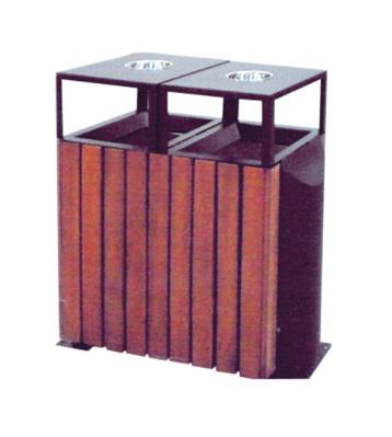 榆木钢木分类垃圾箱