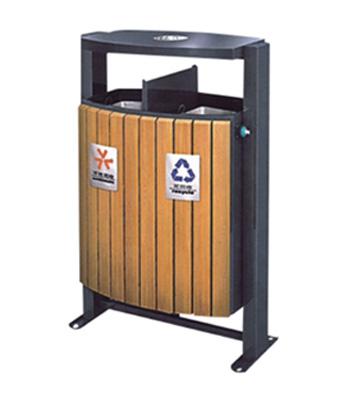 摇摆式钢木分类垃圾箱